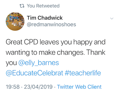 Copy of a tweet from Tim Chadwick