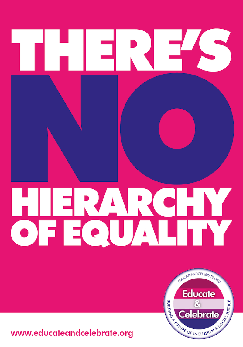 There's No Hierarchy of Equality poster from Educate & Celebrate