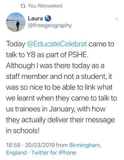 Copy of a tweet from Laura a school teacher