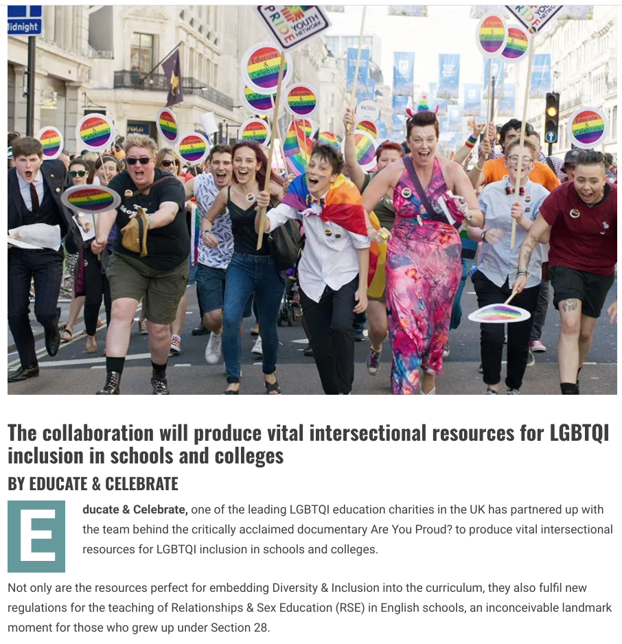 Article from Diva Magazine about Educate & Celebrate LGBT + resources for schools